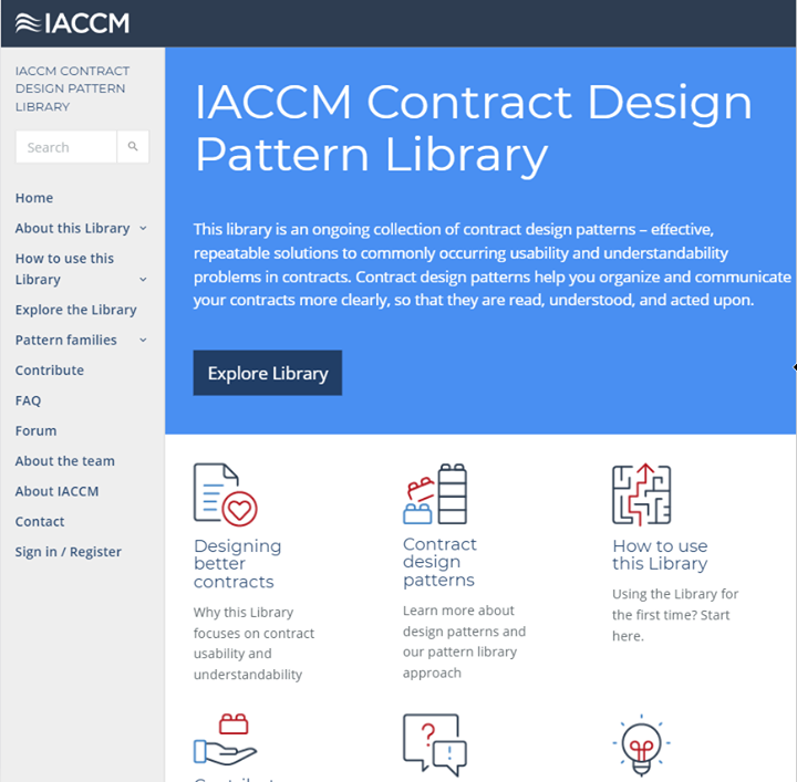 The IACCM Contract Design Pattern LibraryThis library is an